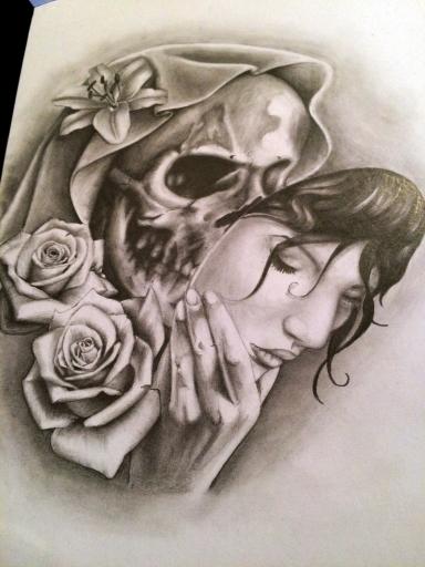Dessin De Tatouage De Tete De Mort Realiste Maingriz