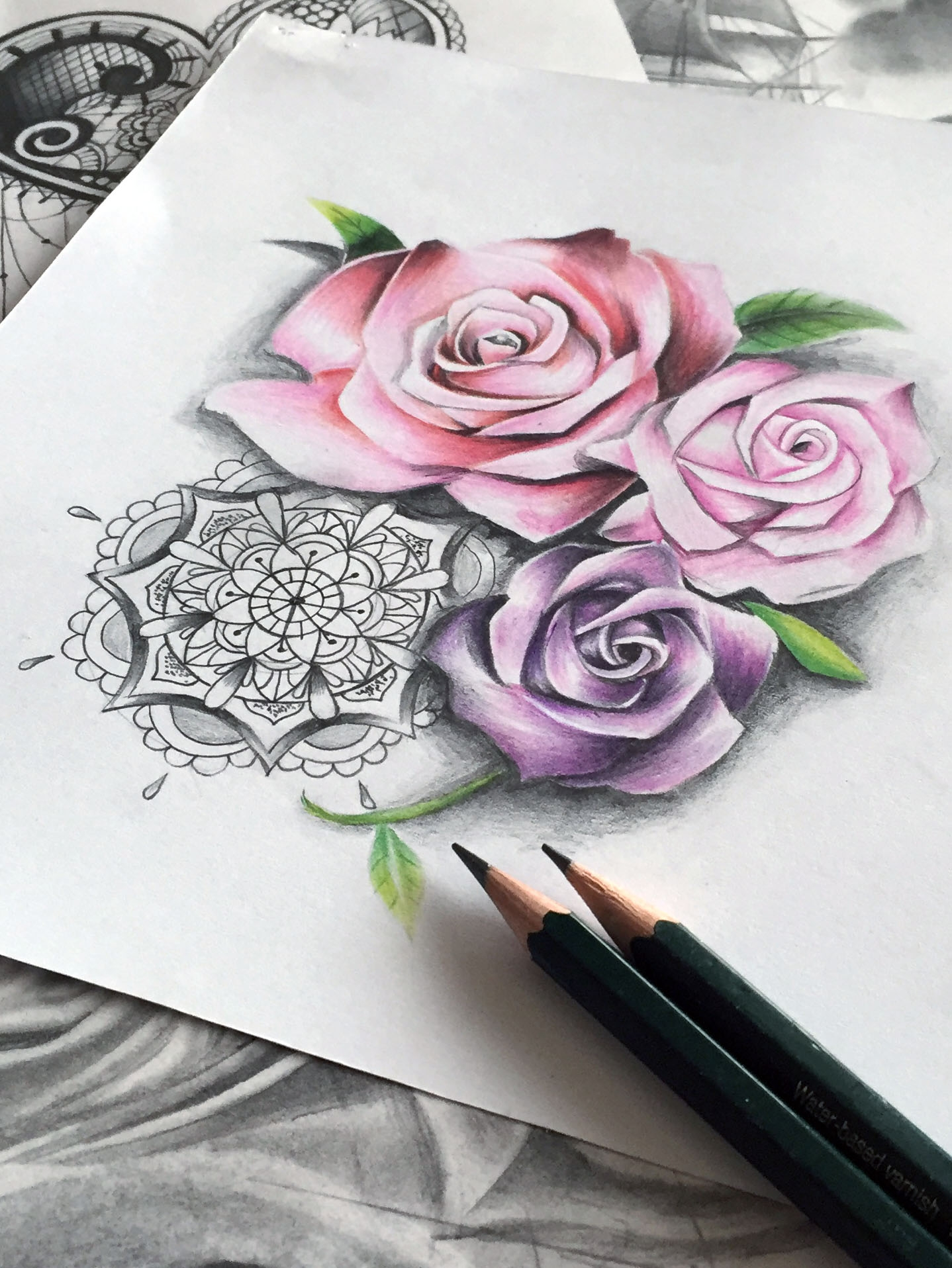 Djorine maingriz - Rose dessin tatouage ...