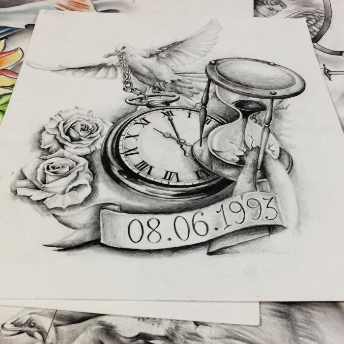 Sablier Horloge Colombe Et Roses Maingriz