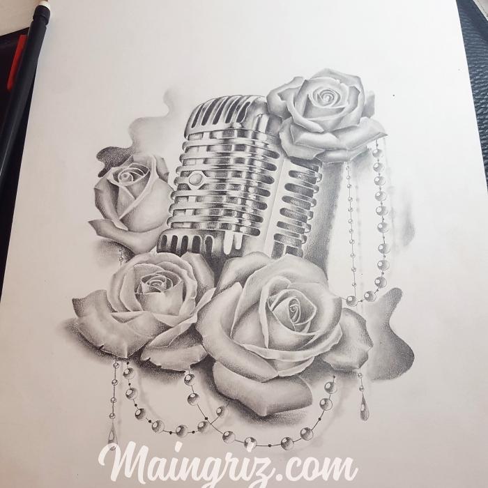Dessin De Rose Et Micro Pour Tatouage Maingriz