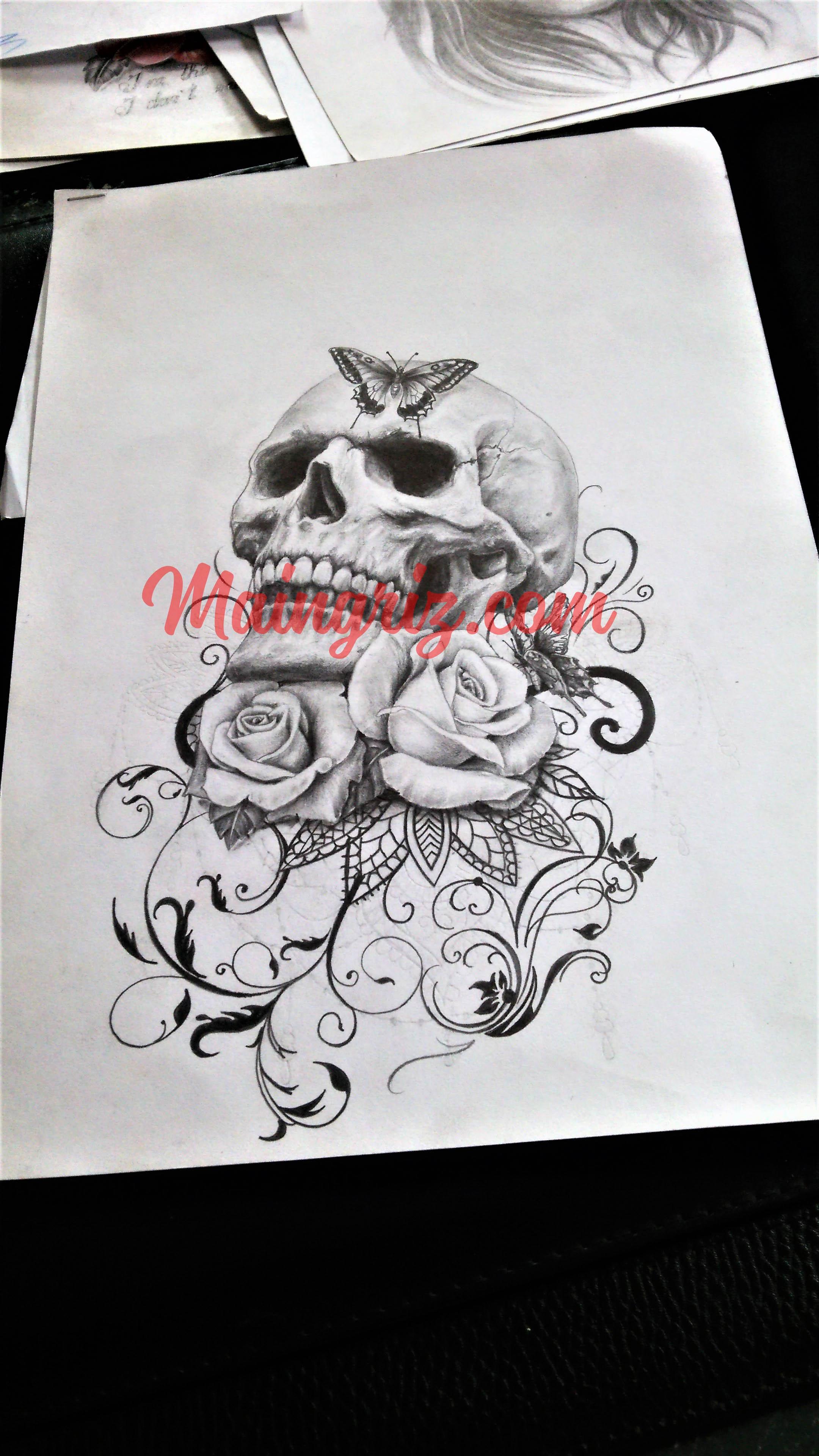 Dessin Ange Realiste dessin de tatouage de tête de mort réaliste avec rose et